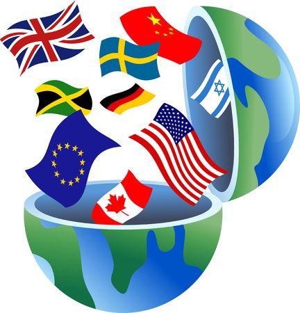 bandera reino unido: Un mundo abierto con banderas del mundo que sale de ella.  Foto de archivo