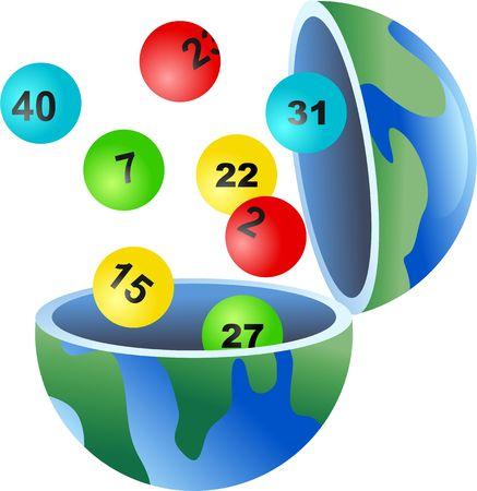 loteria: Un mundo de loter�a del mundo, con las bolas que salen de ella. Foto de archivo