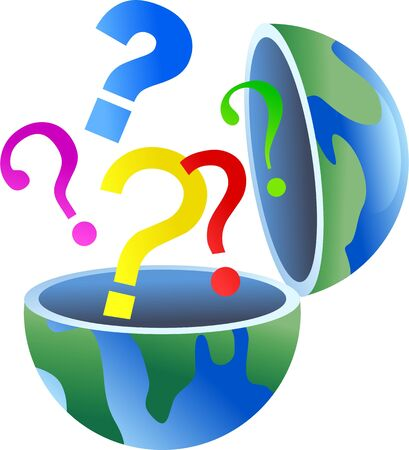 An open globe of the world with question mark symbols coming out of it.