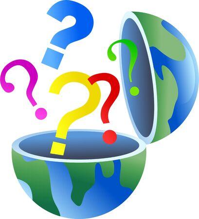 Een open wereld van de wereld met vraagteken symbolen uit van. Stockfoto