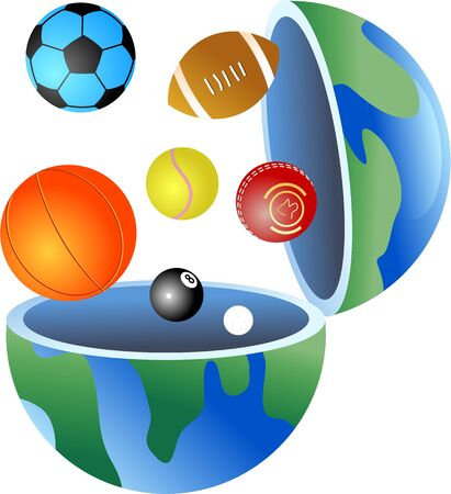 An open globe of the world with sports balls coming out of it. photo
