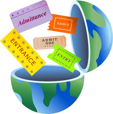 admittance: An open globe of the world with entry tickets coming out of it.