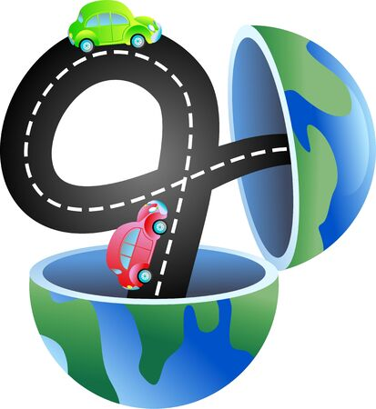An open globe of the world with a road and cars travelling on it. photo