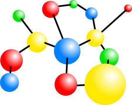 Una molécula de estructura aislada de colores sobre fondo blanco.