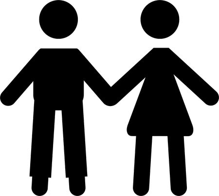 couple holding hands: A simple black icon of a couple holding hands isolated on white.