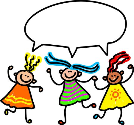 friends talking: A group of happy and diverse little girls talking together.