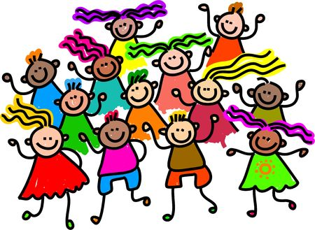 spectators: A group of happy and diverse children standing together.