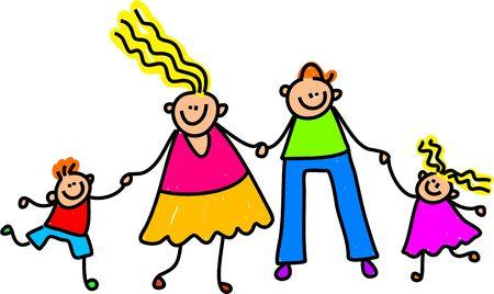 family clipart: Whimsical stesura di una famiglia felice caucasica per mano.