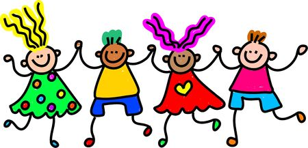 kids holding hands: Whimsical drawing of a group of happy and diverse children holding hands.