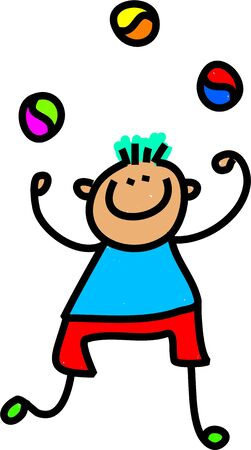 Whimsical drawing of a happy little boy juggling three balls.