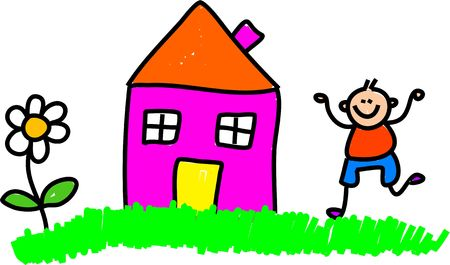 Whimsical drawing of a happy little boy playing outside his home.