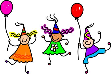 cartoon party: Three happy little kids wearing party hats and holding balloons. Stock Photo
