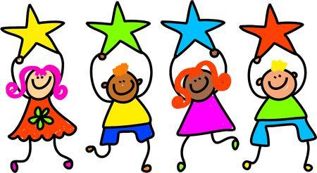 estrella caricatura: Whimsical dibujo de un grupo de ni�os felices y diversas estrellas de colores hasta la celebraci�n de las formas.
