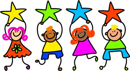 star award: Whimsical drawing of a group of happy and diverse children holding up colourful star shapes. Stock Photo