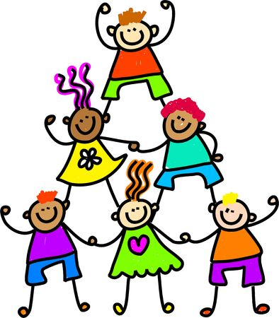 Whimsical drawing of a group of happy and diverse children forming a support tower.