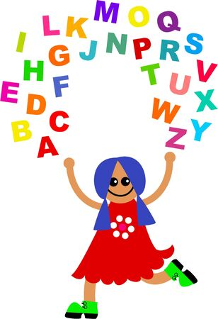 Cute cartoon girl juggling letters of the alphabet. Stock Photo