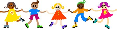 kids holding hands: Group of happy and diverse children holding hands. Stock Photo
