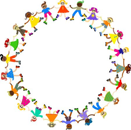 Group of happy and diverse boys and girls holding hands together around in a circle. Stock Photo