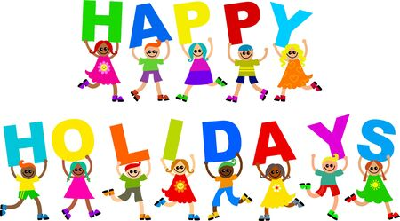 holiday message: A group of cute and diverse children holding up letters to form the greeting HAPPY HOLIDAYS.