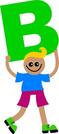 Happy little ethnic boy holding a giant letter B. Stock Photo - 5234542