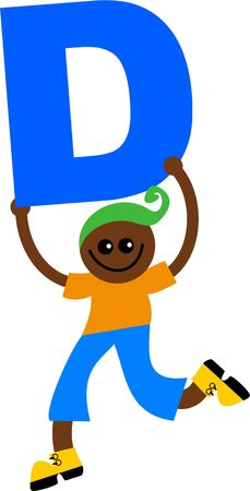Happy little ethnic boy holding a giant letter D. Stock Photo - 5234567