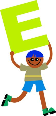 Happy little ethnic boy holding a giant letter E. Stock Photo - 5234544