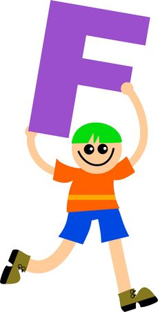 Happy little boy holding a giant letter F. Stock Photo - 5234552