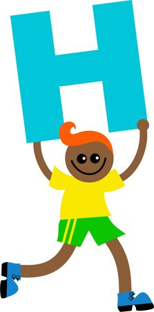 Happy little ethnic boy holding a giant letter H. Stock Photo - 5234551