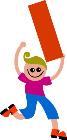Happy little boy holding a giant letter i. Stock Photo - 5234546
