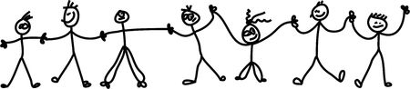 Childlike drawing of a chain of happy kids holding hands. Stock Photo