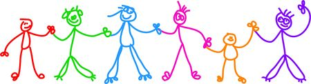 kids holding hands: Childlike drawing of a group of diverse stick children holding hands.