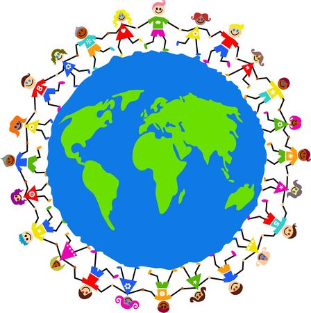 Happy and diverse kids holding hands around a globe of the world.