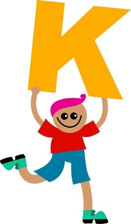 happy little boy holding a giant letter K. Stock Photo - 5538661