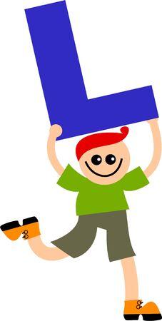l boy: happy little caucasian boy holding a giant letter L.