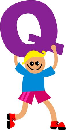 happy little boy holding a giant letter Q. Stock Photo - 5538673