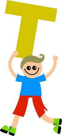 Happy little caucasian boy holding a giant letter T. Stock Photo - 5538669