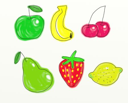 prawny: Digitally painted whimsical fruit collection isolated on white canvas background.