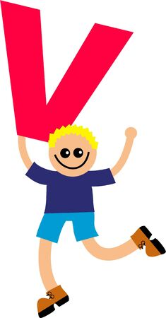 Happy little caucasian boy holding a giant letter V. Stock Photo - 5578804