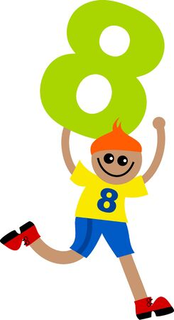 Happy little ethnic boy holding a giant number eight. Stock Photo - 5578823