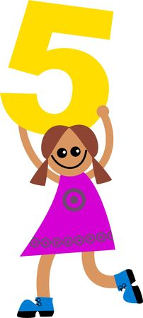 prawny: Happy little ethnic girl holding a giant number five.