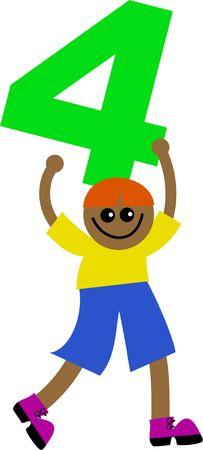 prawny: Happy little ethnic boy holding a giant number four.