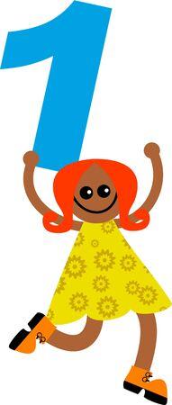 prawny: Happy little ethnic girl holding a giant number one. Stock Photo
