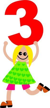 Happy Little caucasico ragazza in possesso di un numero gigantesco tre.