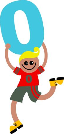 naught: Happy little ethnic boy holding a giant number zero.