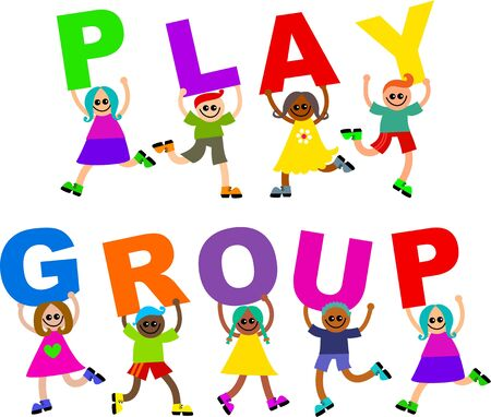 mixed race children: A group of happy and diverse children holding up letters that spell out the words PLAY GROUP. Stock Photo