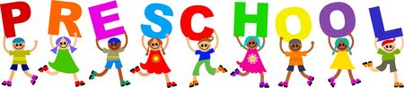 prawny: A group of happy and diverse children spelling out the word PRESCHOOL.