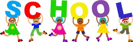 prawny: Group of happy and diverse children holding up letters that spell out the word SCHOOL.