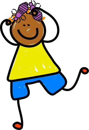 Happy cartoon drawing of an ethnic boy scratching his head louse hair. photo