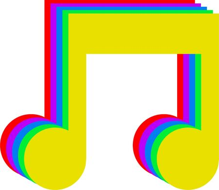 musicality: Simple musical symbol made up of red, purple, blue, green and yellow isolated on white. Stock Photo