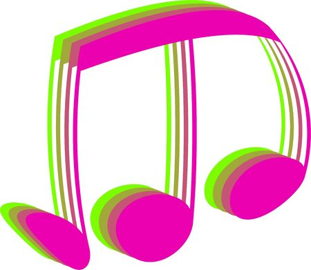 musicality: Abstract pink and green musical note symbol isolated on white.